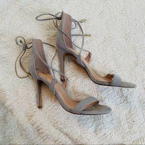 Lulus Gray heels ankle strap 3.5 heel GUC sandal